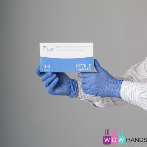 Перчатки нитриловые, чувствительные Polix PRO&MED, Purple blue