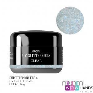 Глиттерный гель naomi uv glitter gel clear