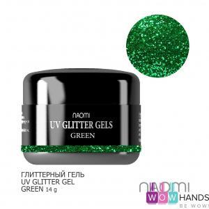 Глиттерный гель naomi uv glitter gel green